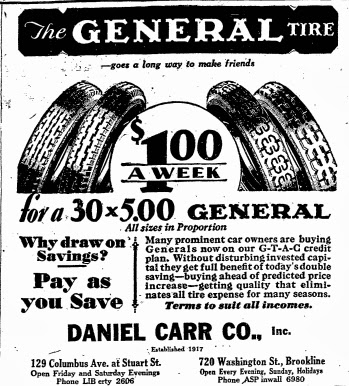 1929 ad for Daniel Carr Co. auto supply store