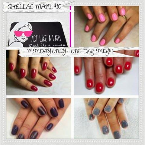 $10 Shellac One Color Manicure