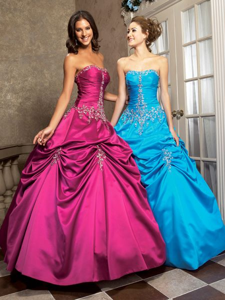 red and blue Strapless Ball Gown Long Prom Dress with beaded accent