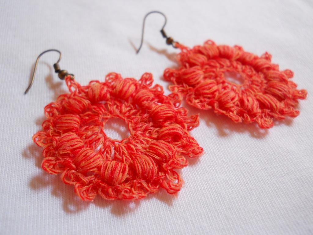 Free Crochet Patterns For Earrings : Crochet Circle Earring #5 Moira Crochets Plarn