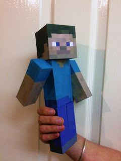 Completed Minecraft Steve paper model