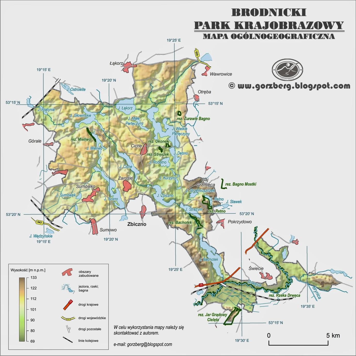 Mapa ogólnogeograficzna Brodnickiego Parku Krajobrazowego