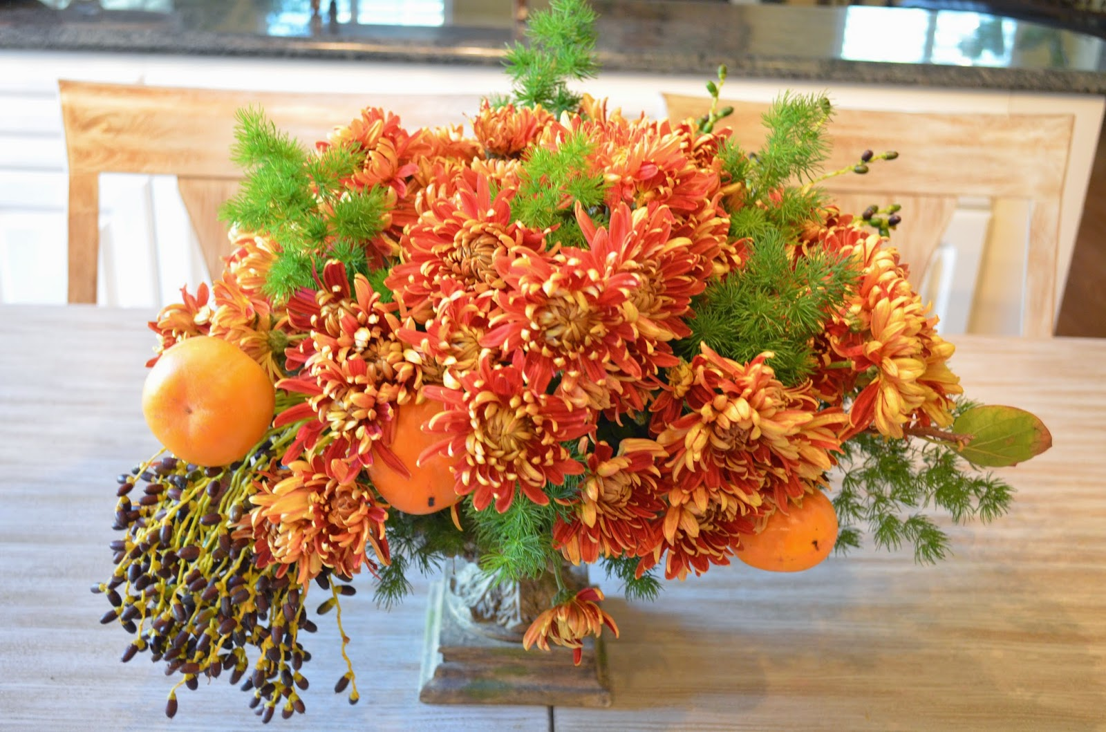 Entertaining From an Ethnic Indian Kitchen Fall flower arrangement