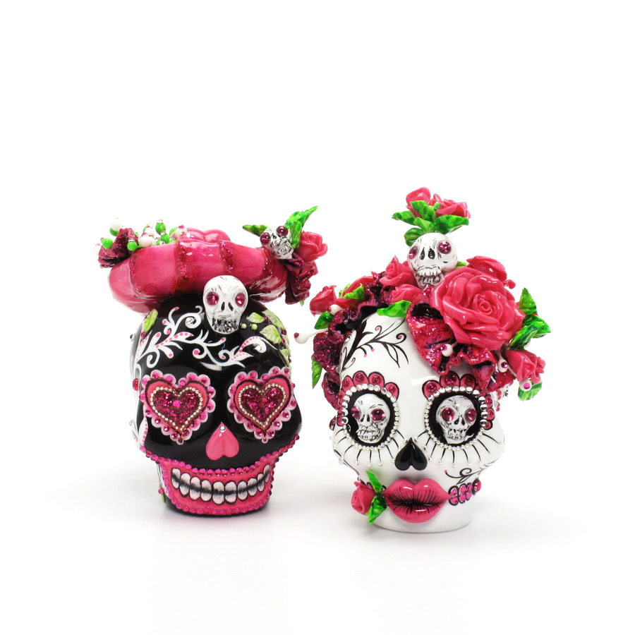 day of the dead wedding cake topper mexican skull 00093