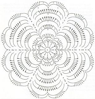 Вязаный комплект бижутерии: колье из обвязанных крючком колечек, украшенное цветком