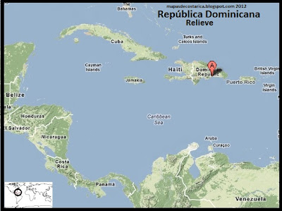 Mapa de Relieve de Republica Dominicana en El Caribe