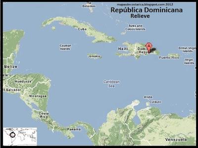 Mapa de Relieve de Republica Dominicana en El Caribe