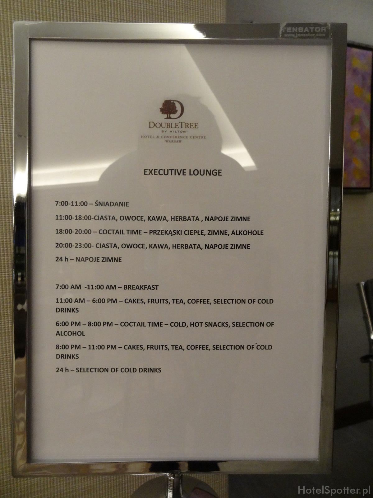 Salonik Executive Lounge w DoubleTree by Hilton Warsaw - rozpiska godzinowa