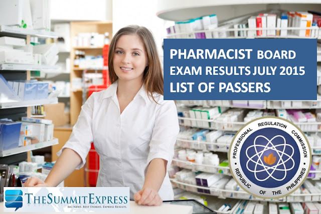 List of Passers: July 2015 Pharmacist board exam results