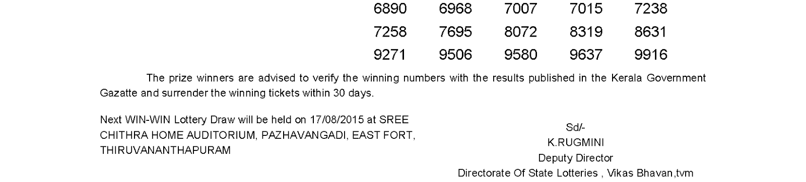 WIN WIN Lottery W 320 Result 10-8-2015