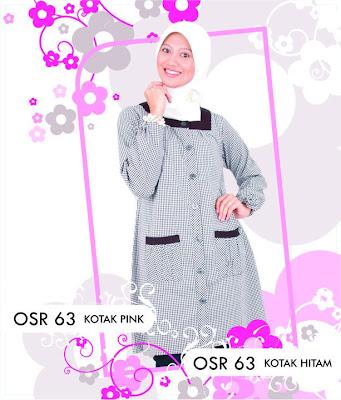 Katalog Fashion Osmoes Pakaian Wanita Muslim Kotak Pink Hitam