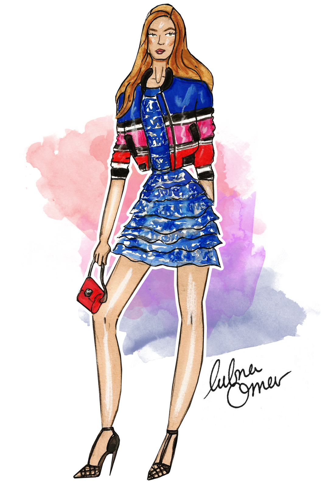 Gigi Hadid in Elie Saab SS16 illustration by Lubna Omar