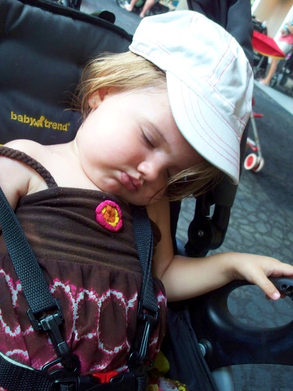 sleeping in her stroller at the zoo