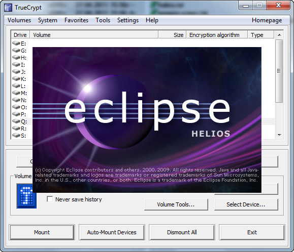 Alexander Maximenya's blog: Эксперимент: Ускорение Eclipse при помощи TrueCrypt