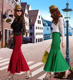 Lace-Hem Fishtail Long Skirt