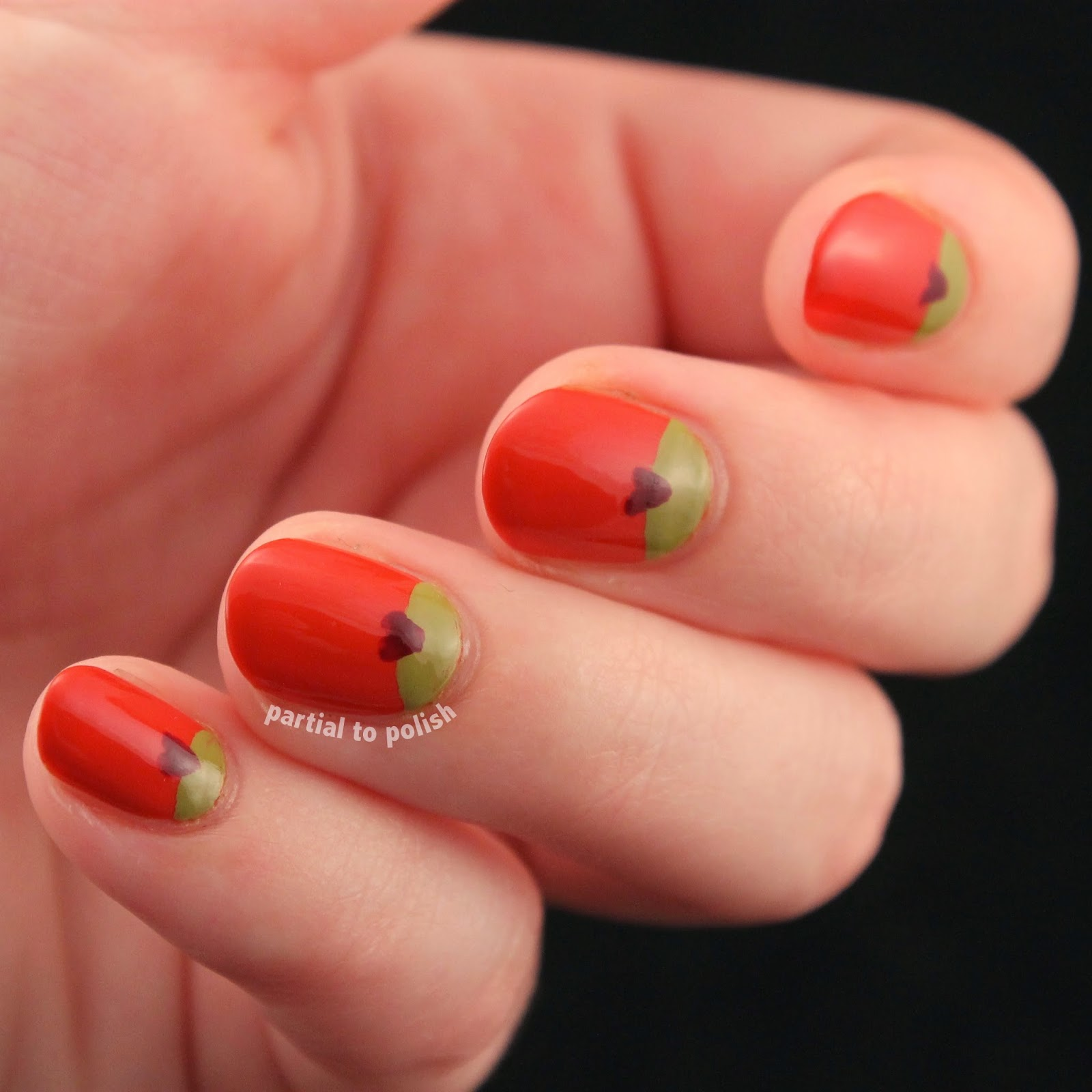 Half Moon Nail Art Plus Little Hearts: a Recreation of a Gorgeous So Nailicious Design!