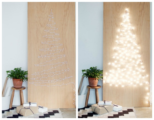 Decoraci n f cil diy rbol de navidad con luces en la pared - Luces para arboles ...
