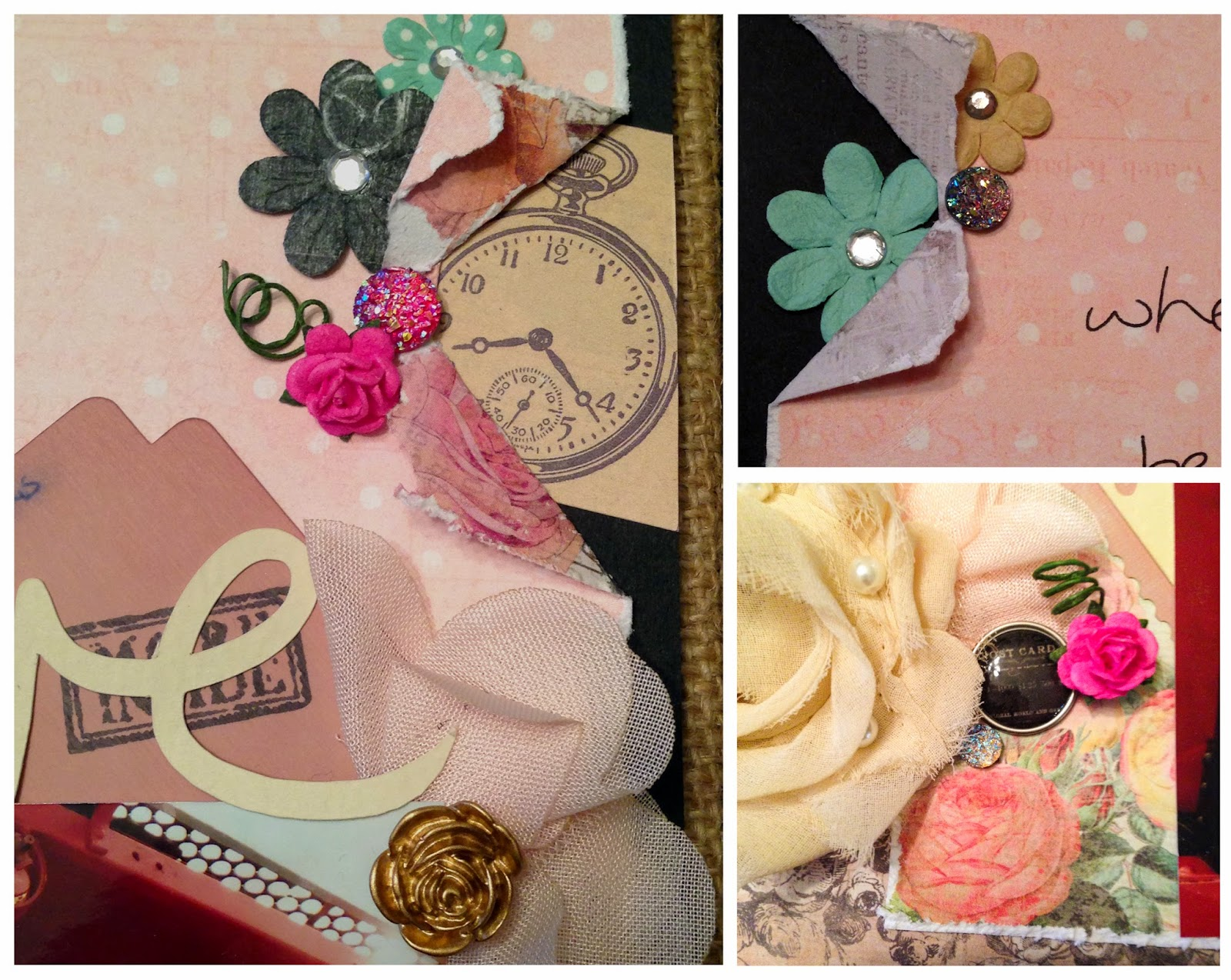 Close up of details--flowers, brad, bling, etc.