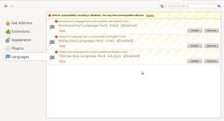 Firefox Languages panel