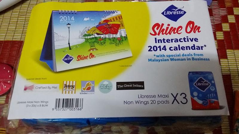libresse, pad libresse, libresse shine on, kalendar meja, kalendar free 2014, kalendar 2014, mydin mall kubang kerian,