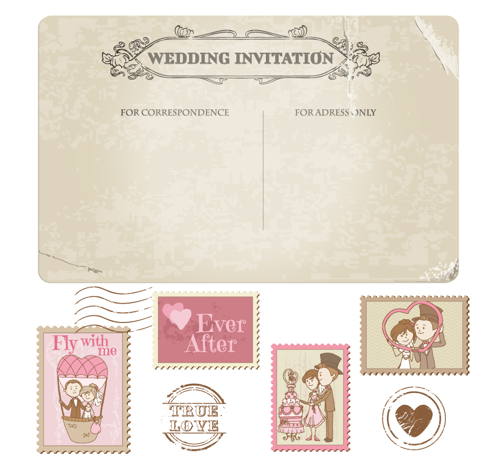 結婚式の招待状素材 cartoon wedding card イラスト素材