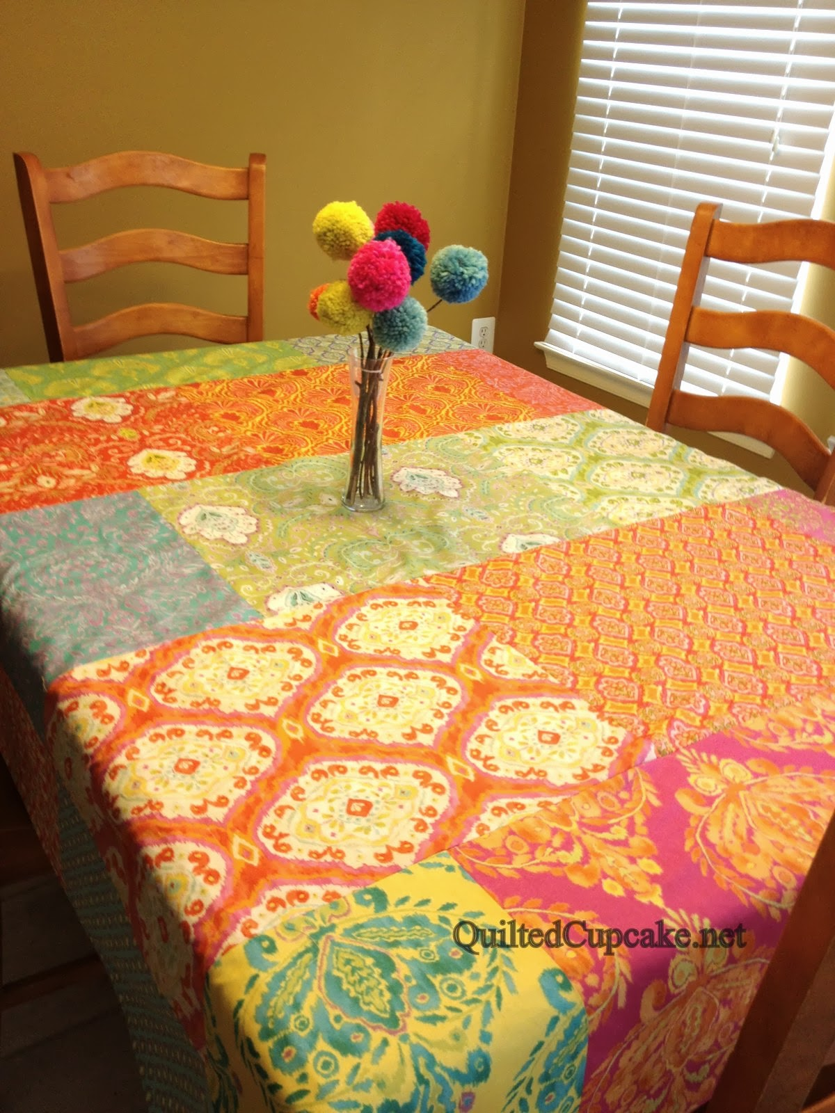 Quilted Cupcake: Easy Reversible Tablecloth with Dena Designs Fabrics