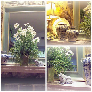 Blue and White Mantel