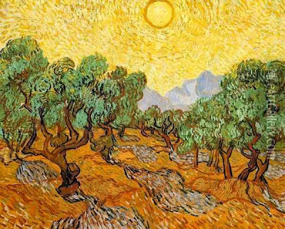 Olive Trees with Yellow Sky and Sun by Vincent Van Gogh, oil canvas reproduction