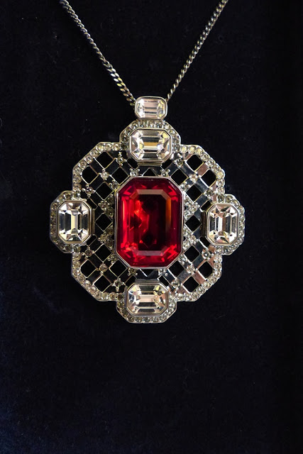 Medieval style Swarovski pendant with red stone