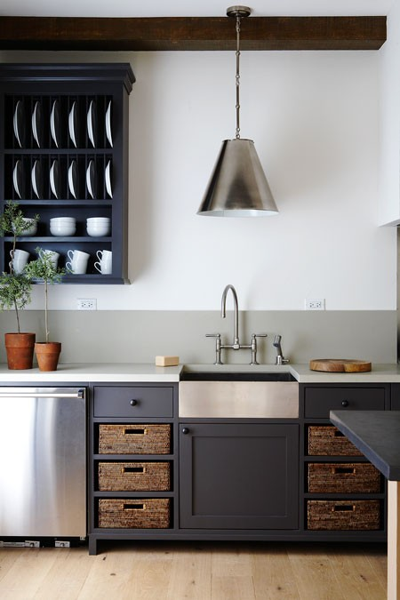 elements and dark grey kitchen cabinets to update country style