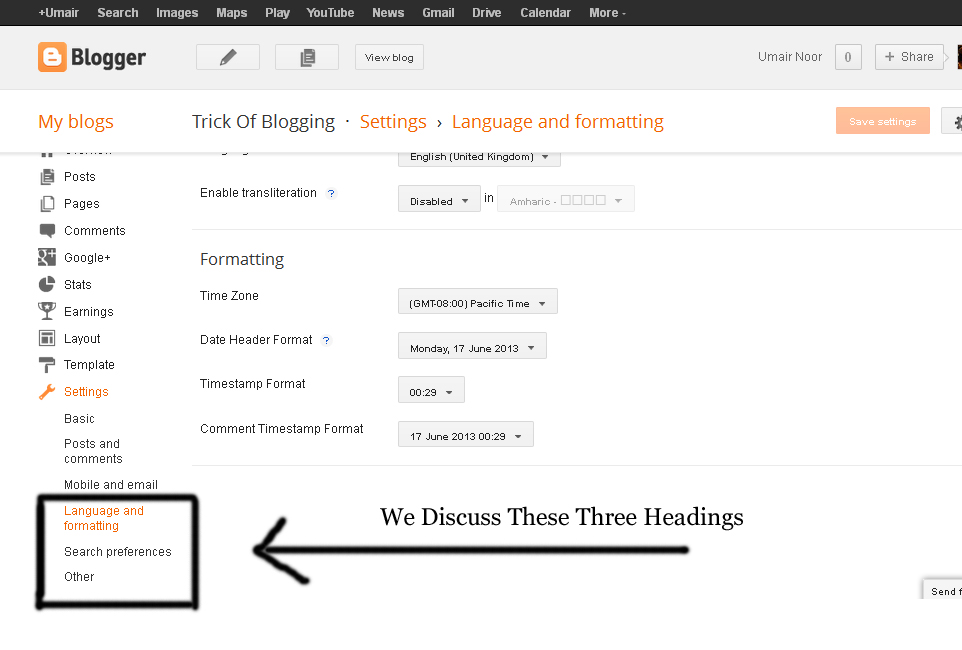 Use Language And Formatting | Search Preferences | Others Option Setting In Blogger Blogspot