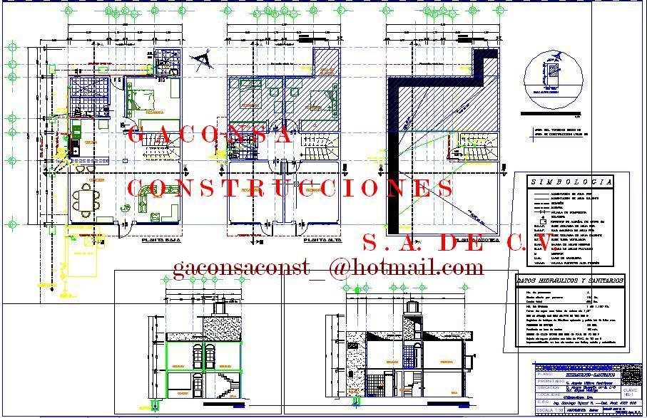 Gaconsa construcciones planos ejecutivos de casa for Plano casa habitacion
