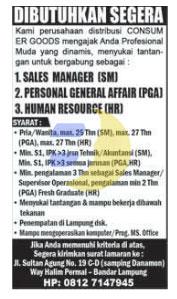 Lowongan Kerja Human Resource, Manager, PGA Lampung