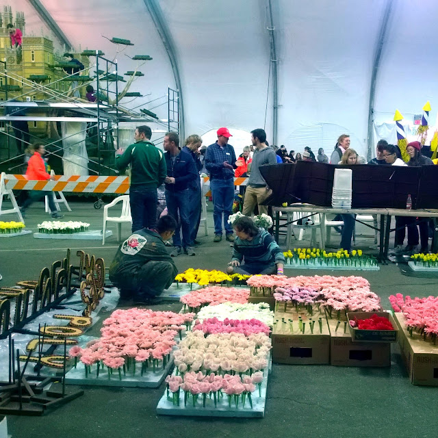 Inside the tent at the Rose parade preview
