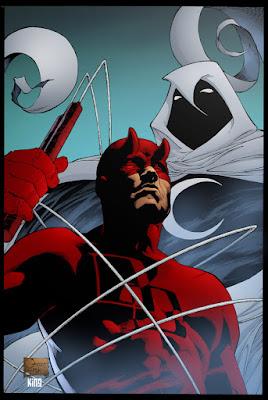 Dibujo del Caballero Luna y Daredevil