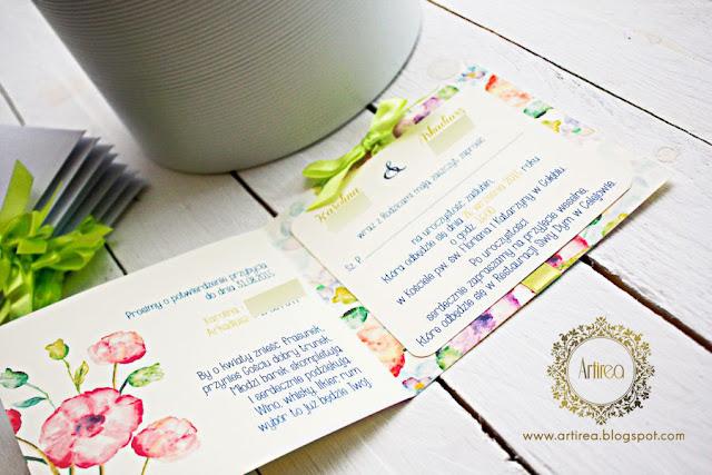Zaproszenie ślubne limonkowe Artirea