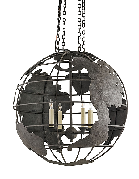 World Globe Black Pendant Chandelier