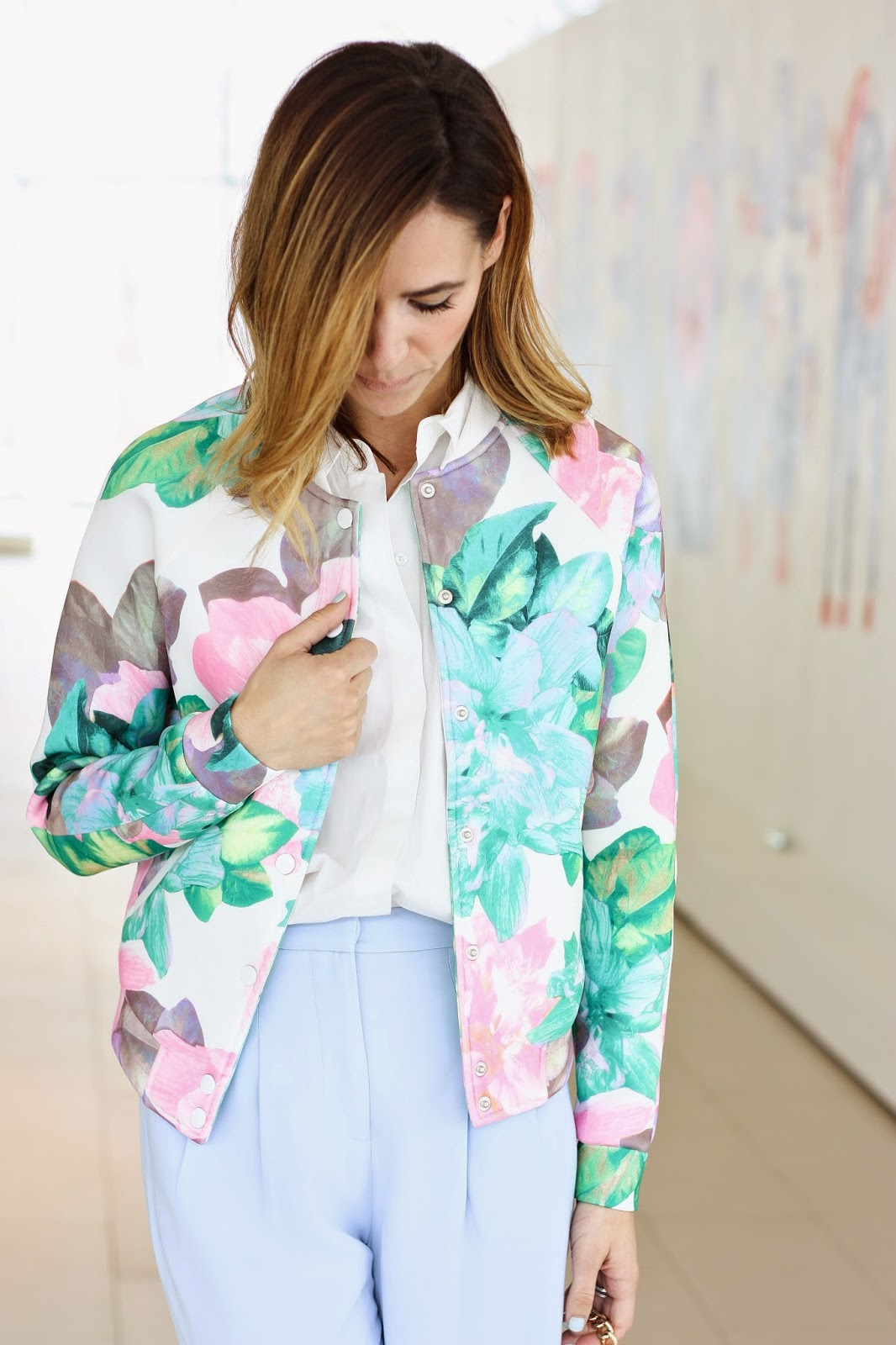 Forever 21 Scuba Knit Floral Bomber, Forever 21 Peep-toe faux leather mules, Forever 21 wide legged trousers, Forever 21, Forever 21 Rolled sleeved collared shirt, spring, pale blue