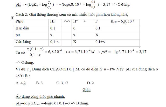 công thức tính nhanh pH và pOH - gia sư tại nhà - 4