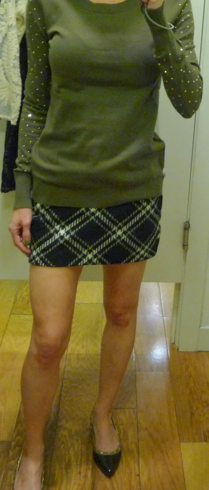 Express tartan plaid mini skirt, zipper, black, olive rhinestud crewneck sweater
