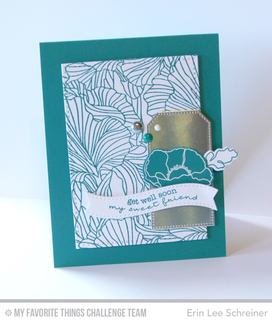 Poppy Get Well Card by Erin Lee Schreiner featuring the Lisa Johnson Designs Delicate Pretty Poppies stamp set, the Etched Flower Background stamp, and the Poppies and Leaves Die-namics #mftstamps
