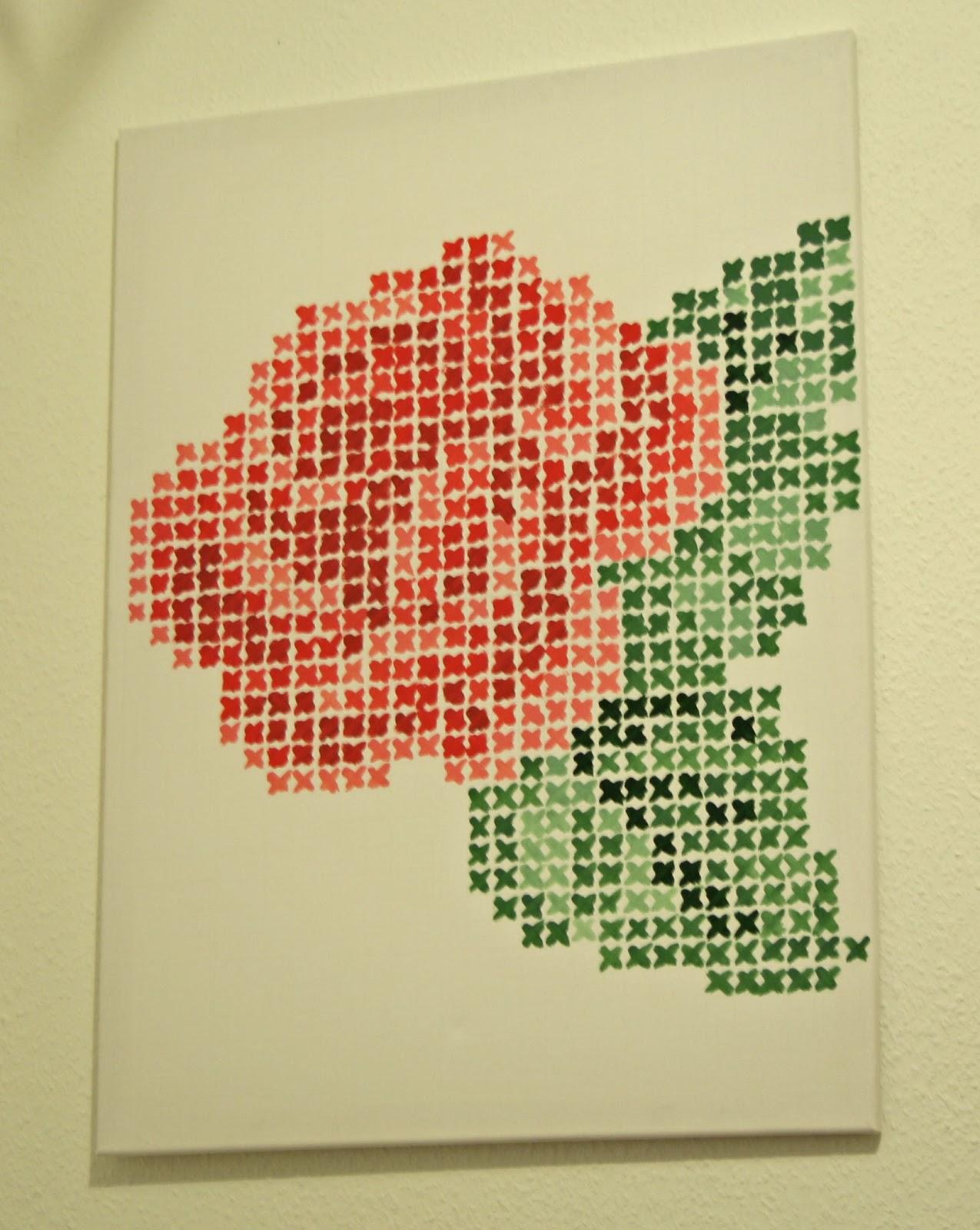 Happy-Pretty-Mess: Tableau au point de croix : une rose sur mon mur