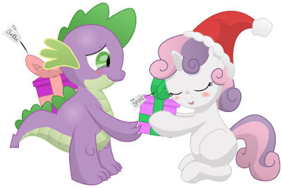 A Merry Christmas gift for you all. This picture can describe many things of what's going on, but of course, Spike and Sweetie Belle are giving each ...