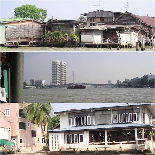 Typical houses can be seen along Chao Phraya River in Bangkok, Thailand