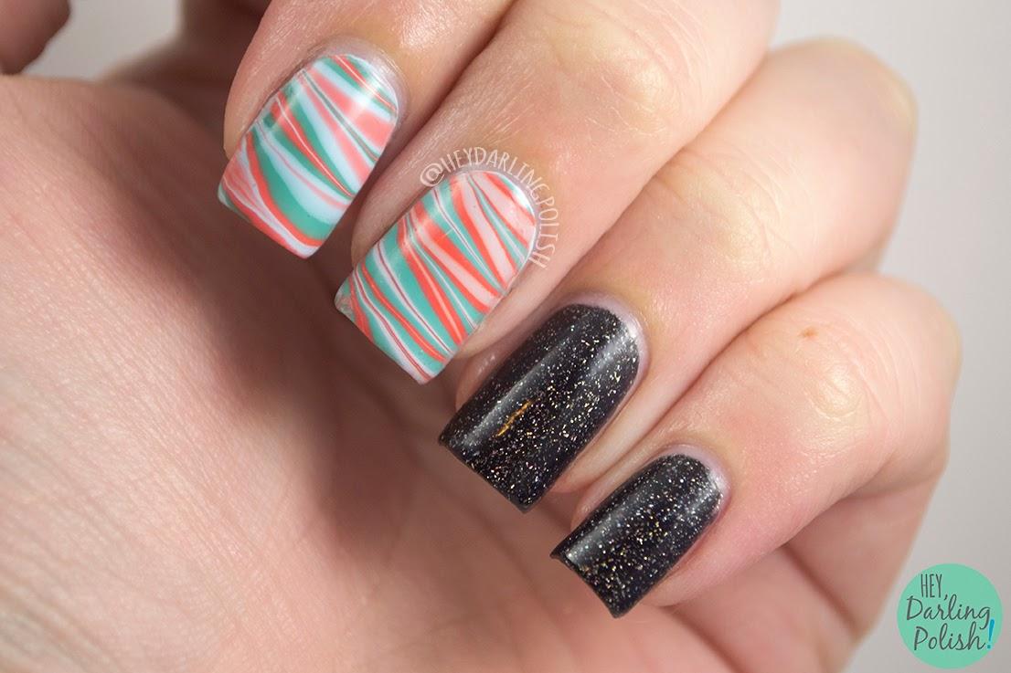 nails, nail art, nail polish, polish, zoya, zoya polish, watermarble, black, cocktail nails, hey darling polish, theme buffet