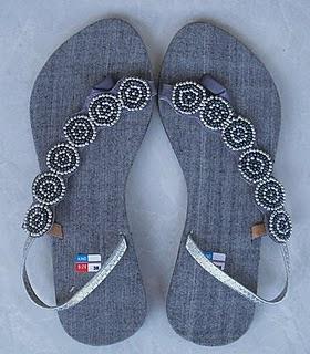 model sweet denim sandal wanita unik