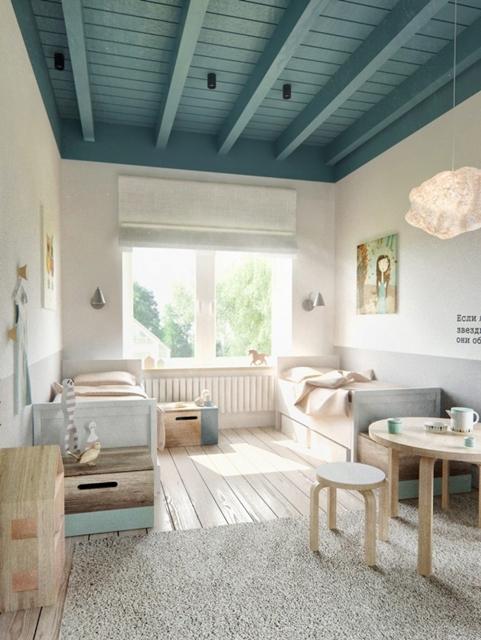quarto com teto azul