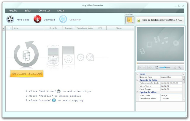 Interface do Any Video Converter