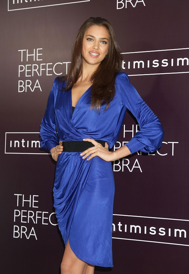 Irina Shayk in a blue dress
