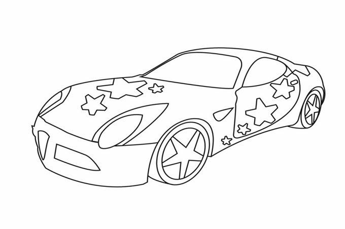 رسم سيارة مزينة بالنجوم للتلوين